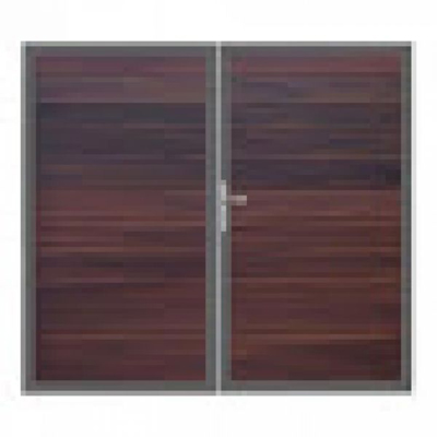 Solid poort - 180 x 300 cm - Notenbruin - Antraciet kader